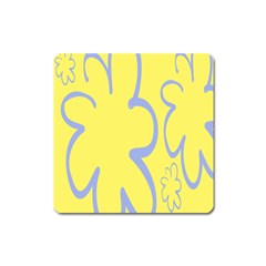 Doodle Shapes Large Flower Floral Grey Yellow Square Magnet