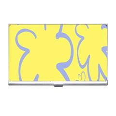 Doodle Shapes Large Flower Floral Grey Yellow Business Card Holders