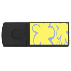 Doodle Shapes Large Flower Floral Grey Yellow USB Flash Drive Rectangular (2 GB)