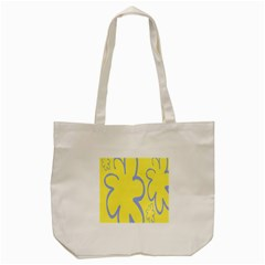 Doodle Shapes Large Flower Floral Grey Yellow Tote Bag (cream)