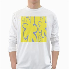 Doodle Shapes Large Flower Floral Grey Yellow White Long Sleeve T Shirts