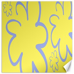 Doodle Shapes Large Flower Floral Grey Yellow Canvas 20  x 20