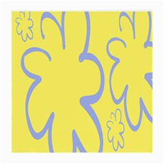 Doodle Shapes Large Flower Floral Grey Yellow Medium Glasses Cloth