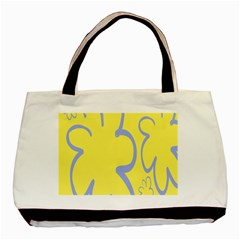 Doodle Shapes Large Flower Floral Grey Yellow Basic Tote Bag (two Sides)