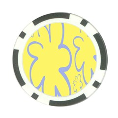 Doodle Shapes Large Flower Floral Grey Yellow Poker Chip Card Guard