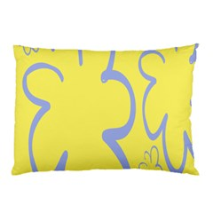 Doodle Shapes Large Flower Floral Grey Yellow Pillow Case