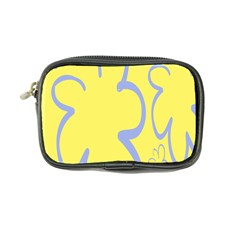 Doodle Shapes Large Flower Floral Grey Yellow Coin Purse