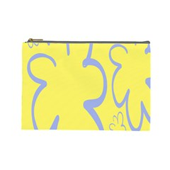 Doodle Shapes Large Flower Floral Grey Yellow Cosmetic Bag (large)