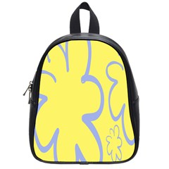 Doodle Shapes Large Flower Floral Grey Yellow School Bags (small)