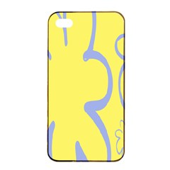 Doodle Shapes Large Flower Floral Grey Yellow Apple iPhone 4/4s Seamless Case (Black)