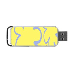 Doodle Shapes Large Flower Floral Grey Yellow Portable Usb Flash (one Side)