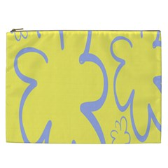 Doodle Shapes Large Flower Floral Grey Yellow Cosmetic Bag (XXL)