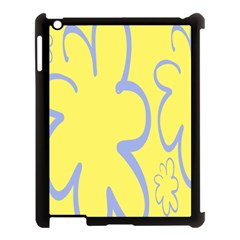 Doodle Shapes Large Flower Floral Grey Yellow Apple iPad 3/4 Case (Black)