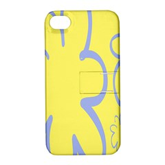 Doodle Shapes Large Flower Floral Grey Yellow Apple Iphone 4/4s Hardshell Case With Stand
