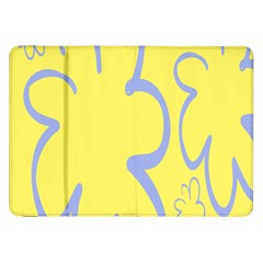 Doodle Shapes Large Flower Floral Grey Yellow Samsung Galaxy Tab 8.9  P7300 Flip Case