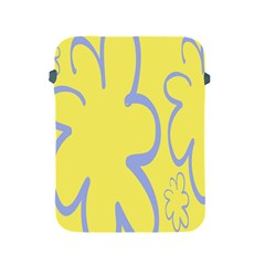 Doodle Shapes Large Flower Floral Grey Yellow Apple Ipad 2/3/4 Protective Soft Cases