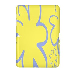 Doodle Shapes Large Flower Floral Grey Yellow Samsung Galaxy Tab 2 (10.1 ) P5100 Hardshell Case