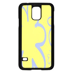 Doodle Shapes Large Flower Floral Grey Yellow Samsung Galaxy S5 Case (Black)