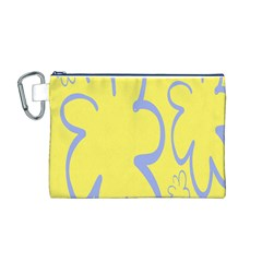 Doodle Shapes Large Flower Floral Grey Yellow Canvas Cosmetic Bag (M)