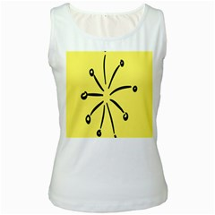 Doodle Shapes Large Line Circle Black Yellow Women s White Tank Top