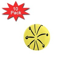 Doodle Shapes Large Line Circle Black Yellow 1  Mini Magnet (10 Pack)