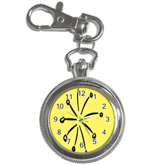 Doodle Shapes Large Line Circle Black Yellow Key Chain Watches