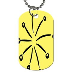 Doodle Shapes Large Line Circle Black Yellow Dog Tag (two Sides)