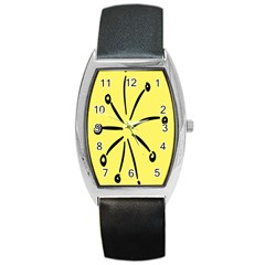 Doodle Shapes Large Line Circle Black Yellow Barrel Style Metal Watch