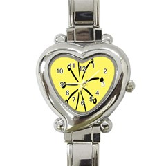 Doodle Shapes Large Line Circle Black Yellow Heart Italian Charm Watch