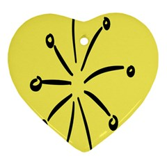 Doodle Shapes Large Line Circle Black Yellow Heart Ornament (two Sides)