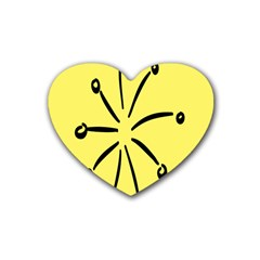 Doodle Shapes Large Line Circle Black Yellow Rubber Coaster (Heart)