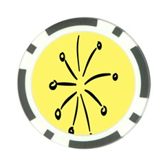 Doodle Shapes Large Line Circle Black Yellow Poker Chip Card Guard