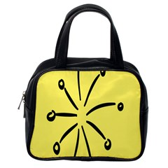 Doodle Shapes Large Line Circle Black Yellow Classic Handbags (One Side)