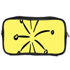 Doodle Shapes Large Line Circle Black Yellow Toiletries Bags