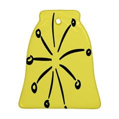 Doodle Shapes Large Line Circle Black Yellow Bell Ornament (Two Sides)
