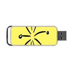 Doodle Shapes Large Line Circle Black Yellow Portable USB Flash (Two Sides)