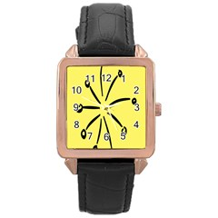Doodle Shapes Large Line Circle Black Yellow Rose Gold Leather Watch