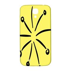 Doodle Shapes Large Line Circle Black Yellow Samsung Galaxy S4 I9500/I9505  Hardshell Back Case