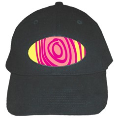 Doodle Shapes Large Line Circle Pink Red Yellow Black Cap