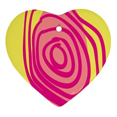 Doodle Shapes Large Line Circle Pink Red Yellow Ornament (heart)