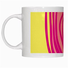 Doodle Shapes Large Line Circle Pink Red Yellow White Mugs
