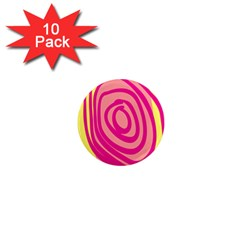 Doodle Shapes Large Line Circle Pink Red Yellow 1  Mini Magnet (10 Pack)