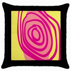 Doodle Shapes Large Line Circle Pink Red Yellow Throw Pillow Case (black)