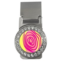 Doodle Shapes Large Line Circle Pink Red Yellow Money Clips (cz)