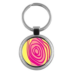 Doodle Shapes Large Line Circle Pink Red Yellow Key Chains (Round)