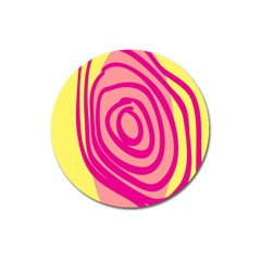 Doodle Shapes Large Line Circle Pink Red Yellow Magnet 3  (round)