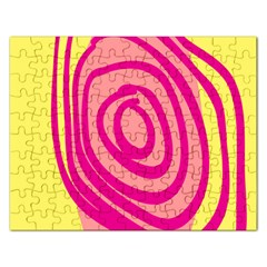 Doodle Shapes Large Line Circle Pink Red Yellow Rectangular Jigsaw Puzzl