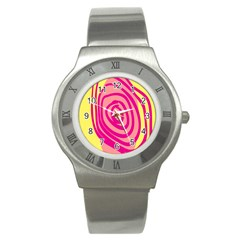 Doodle Shapes Large Line Circle Pink Red Yellow Stainless Steel Watch
