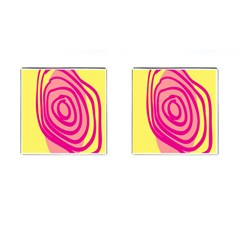 Doodle Shapes Large Line Circle Pink Red Yellow Cufflinks (Square)