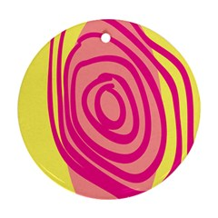 Doodle Shapes Large Line Circle Pink Red Yellow Round Ornament (two Sides)